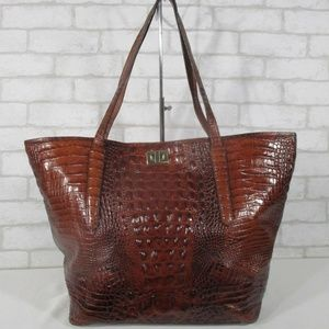 Large Brahmin Croc Embossed Brown Shoulder Bag Tot